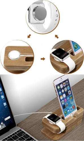 Wood Docking Station for Apple Watch and iPhone